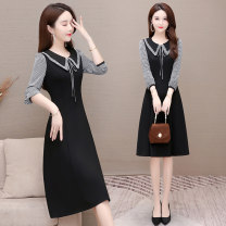 Dress Spring 2021 black M L XL 2XL 3XL Mid length dress singleton  Long sleeves commute Doll Collar High waist Solid color Socket A-line skirt routine Others 35-39 years old Type A Melanie Korean version Frenulum More than 95% polyester fiber Polyester 100% Pure e-commerce (online only)