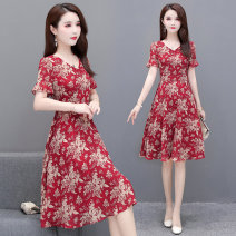 Dress Summer 2020 Light green red pink M L XL 2XL 3XL 4XL Mid length dress singleton  Short sleeve commute V-neck High waist Decor Socket A-line skirt routine Others 35-39 years old Type A Melanie Korean version 020L-88993 More than 95% other polyester fiber Other polyester 95% 5%