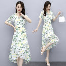 Dress Summer 2020 White, blue, pink M L XL 2XL 3XL Mid length dress singleton  Short sleeve commute V-neck High waist Broken flowers Socket Irregular skirt routine Others 35-39 years old Type A Melanie Korean version Lace up printing 5X9X227 More than 95% polyester fiber Other polyester 95% 5%