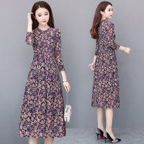 Dress Spring of 2019 Purple yellow L XL 2XL 3XL 4XL Mid length dress singleton  three quarter sleeve commute Crew neck High waist Decor Socket Big swing routine Others 35-39 years old Type A Melanie Korean version printing More than 95% polyester fiber Other polyester 95% 5%