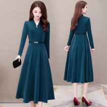 Dress Winter 2020 Red blue L XL 2XL 3XL 4XL 5XL Mid length dress singleton  Long sleeves commute V-neck High waist Solid color Socket A-line skirt routine Others 35-39 years old Type A Melanie Korean version pocket ZWX0192 More than 95% other polyester fiber Other polyester 95% 5%