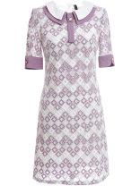Dress Summer 2021 Grayish purple S,M,L,XL Short skirt singleton  Short sleeve commute Polo collar High waist lattice Socket A-line skirt routine Others 25-29 years old Type H Ou Ni Xue Ol style Splicing DB667 31% (inclusive) - 50% (inclusive) other polyester fiber