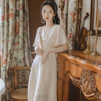 Dress Spring of 2019 Apricot S,M,L,XL longuette singleton  Short sleeve commute V-neck High waist Solid color Socket A-line skirt routine 18-24 years old Type A Korean version Button 91% (inclusive) - 95% (inclusive) Chiffon polyester fiber