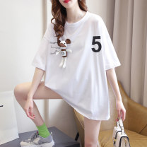 T-shirt Lake Blue Girl Pink White Average size Summer 2021 Short sleeve Crew neck easy Medium length routine commute cotton 86% (inclusive) -95% (inclusive) 18-24 years old Korean version originality letter Zhensihui zsh21041305 printing Cotton 95% polyurethane elastic fiber (spandex) 5%