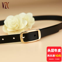 Belt / belt / chain top layer leather Gold button and silver button female belt Versatile Single loop Pin buckle Glossy surface soft surface 1.8cm alloy alone Vzc Autumn of 2019