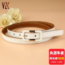 Belt / belt / chain top layer leather white female belt Sweet Single loop Pin buckle Glossy surface Glossy surface 1.8cm alloy alone Vzc VZC292 Autumn and winter 2018