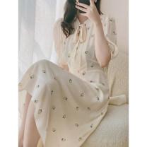 Dress Spring 2021 Strawberry design on rice bottom S code, M code, l code Mid length dress singleton  Short sleeve commute V-neck High waist Socket puff sleeve BLUELUCK Simplicity More than 95% silk