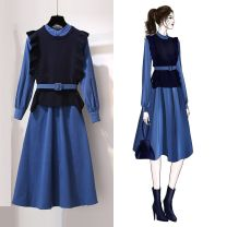 Dress Autumn of 2019 blue S,M,L,XL,2XL Mid length dress Long sleeves commute Crew neck High waist double-breasted A-line skirt routine Retro Tuck, fold, tie
