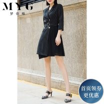 Dress Autumn of 2019 Black and white pinstripes M L XL Mid length dress singleton  three quarter sleeve tailored collar High waist stripe double-breasted A-line skirt other Others 25-29 years old Type A Mengyige More than 95% other other Other 100% Pure e-commerce (online only)