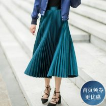 skirt Autumn 2016 S M L green Mid length dress Natural waist Pleated skirt Solid color 25-29 years old KIT-1386036 More than 95% Mengyige other Other 100% Pure e-commerce (online only)