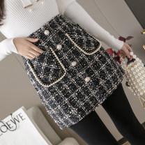 skirt Autumn 2020 XS,S,M,L,XL,2XL Khaki, black Short skirt commute High waist A-line skirt lattice Type A 25-29 years old Wool Button, pocket Korean version