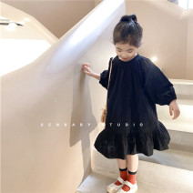 Dress Black dress (in stock) female SENBABY 90, 100, 110 (model), 120, 130, 140, 150 Other 100% spring and autumn leisure time Solid color other other s658 2 years old, 3 years old, 4 years old, 5 years old, 6 years old, 7 years old, 8 years old
