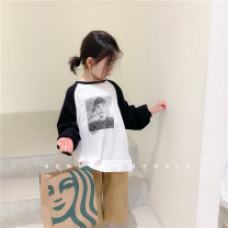 T-shirt Raglan sleeve t (in stock) SENBABY 90, 100, 110 (model), 120, 130, 140, 150 female spring and autumn Long sleeves Crew neck Korean version There are models in the real shooting nothing other Figure pattern s677