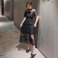 Dress Summer of 2019 Black [high-quality fabric], white [high-quality fabric], limited quantity 59.8 package mail, collection baby + shopping cart priority delivery, about to increase price 79 yuan S,M,L,XL,2XL,3XL Mid length dress singleton  Short sleeve commute stand collar High waist Solid color