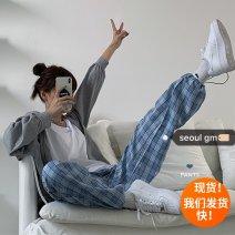 Casual pants Blue check S,M,L Summer 2020 Ninth pants Haren pants High waist commute Thin money 18-24 years old 81% (inclusive) - 90% (inclusive) polyester fiber Korean version pocket polyester fiber