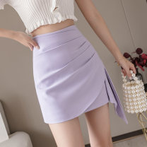 skirt Summer 2021 S,M,L,XL Short skirt commute High waist Irregular Solid color Type A 18-24 years old //XY 51% (inclusive) - 70% (inclusive) other Fold, asymmetric Korean version