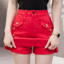 Jeans Spring 2021 Apricot, white, red, black S,M,L,XL,2XL shorts High waist Wide legged trousers routine 18-24 years old Wash, zipper, button, others Cotton elastic denim Dark color //XY 81% (inclusive) - 90% (inclusive)
