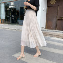 skirt Summer 2021 Average size Apricot, white, black Mid length dress commute High waist A-line skirt lattice Type A 18-24 years old FA 31% (inclusive) - 50% (inclusive) Chiffon Korean version