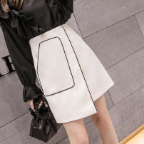 skirt Spring 2021 S,M,L,XL,2XL Ginger, off white, black Short skirt commute High waist A-line skirt Solid color Type A 18-24 years old AT 51% (inclusive) - 70% (inclusive) Asymmetry Korean version