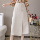 skirt Spring 2021 S,M,L,XL Apricot, black Mid length dress Versatile High waist A-line skirt Solid color Type A 18-24 years old AT 51% (inclusive) - 70% (inclusive) other other Button