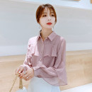 Lace / Chiffon Spring 2021 Pink S,M,L,XL,2XL Long sleeves Versatile Cardigan singleton  Self cultivation Polo collar Solid color shirt sleeve 18-24 years old Other / other ZQ 96% and above cotton