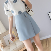 skirt Summer 2021 S,M,L,XL Blue lining, black lining, pink lining Short skirt commute High waist A-line skirt Solid color Type A 18-24 years old SL 81% (inclusive) - 90% (inclusive) other Button Korean version