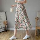 skirt Summer 2021 Average size Rose red, violet, little yellow flower Mid length dress Versatile High waist A-line skirt Decor Type A 18-24 years old 71% (inclusive) - 80% (inclusive) Chiffon