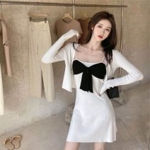 Women's large Autumn 2020 White suit black suit S M L XL 2XL 3XL Dress Two piece set commute Self cultivation moderate Socket Long sleeves Solid color Korean version One word collar routine Polyester cotton Three dimensional cutting routine sn512304230424 SANA 18-24 years old Bandage Short skirt