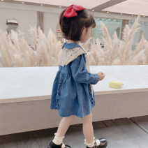 Dress blue female Other / other 80cm,90cm,100cm,110cm,120cm,130cm Cotton 90% polyester 10% spring and autumn Korean version Long sleeves Solid color Denim Denim skirt Class A 12 months, 6 months, 9 months, 18 months, 2 years old, 3 years old, 4 years old, 5 years old, 6 years old, 7 years old