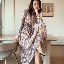 Dress Autumn of 2019 Picture color S M L XL longuette singleton  Long sleeves commute Polo collar High waist Decor Single breasted A-line skirt shirt sleeve Others 25-29 years old Type A Jue Qiu Korean version Ruffle fold stitching strap button D94 More than 95% Chiffon other Other 100%