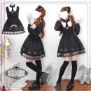 Dress Autumn of 2018 black S M L Short skirt singleton  Long sleeves Sweet square neck High waist other Socket Hexagram Lolita