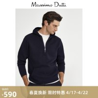 T-shirt / sweater Massimo Dutti Fashion City Navy Blue S (CN 175/92A) M (CN 180/96A) L (CN 185/104A) XL (CN 185/108A) routine Socket Crew neck Long sleeves 00921402401-30 Cotton 100% business affairs Business Casual youth Winter 2020 Same model in shopping mall (sold online and offline)