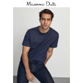 T-shirt Fashion City Navy Blue routine Massimo Dutti Short sleeve Crew neck standard daily Cotton 100% Winter 2020 Same model in shopping mall (sold online and offline)