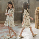 Dress Apricot female Bassimia 130cm 140cm 150cm 160cm 170cm Cotton 100% summer Korean version Short sleeve Dot Lotus leaf edge Class B Summer 2020 5 years old, 6 years old, 7 years old, 8 years old, 9 years old, 10 years old, 11 years old, 12 years old, 13 years old, 14 years old