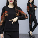 Women's large Spring 2021 black Other oversize styles Two piece set commute easy moderate Socket Long sleeves Korean version Crew neck routine routine trousers