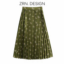 skirt Spring 2021 XS,S,M,L green Mid length dress commute High waist Pleated skirt Animal design Type A 71% (inclusive) - 80% (inclusive) other ZRN polyester fiber Fold, print Retro