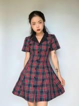 Dress Autumn 2020 Red and blue dress S,M,L 71% (inclusive) - 80% (inclusive) brocade