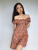 Dress Autumn 2020 Orange S,M,L 71% (inclusive) - 80% (inclusive) Chiffon