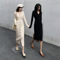 Dress Autumn 2020 Black apricot S M L longuette singleton  Long sleeves commute V-neck High waist Solid color Single breasted other routine Others 18-24 years old Type A Qiaonifen Korean version 51% (inclusive) - 70% (inclusive) other polyester fiber Polyester 70% other 30%