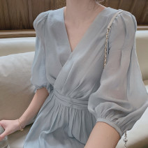 Dress Spring 2021 Light blue cream S M L XL Mid length dress singleton  Long sleeves commute V-neck High waist Solid color Socket A-line skirt routine Others 18-24 years old Type A Qiaonifen Korean version 51% (inclusive) - 70% (inclusive) other polyester fiber Polyester 60% other 40%