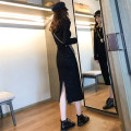 Dress Autumn of 2019 S M L XL Mid length dress singleton  Long sleeves commute Crew neck High waist Solid color Socket One pace skirt routine Others 18-24 years old Type H Qiaonifen Simplicity More than 95% knitting polyester fiber Polyester 100% Pure e-commerce (online only)