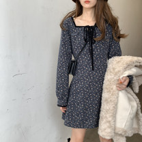 Dress Spring 2021 dark blue S M L XL Mid length dress singleton  Long sleeves commute square neck High waist Broken flowers Socket A-line skirt routine Others 18-24 years old Type A Qiaonifen Korean version 51% (inclusive) - 70% (inclusive) Chiffon polyester fiber Polyester 60% other 40%