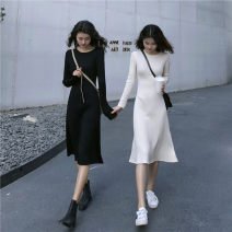 Dress Autumn 2020 Black apricot S M L Mid length dress singleton  Long sleeves commute Crew neck High waist Solid color Socket A-line skirt routine Others 18-24 years old Type A Qiaonifen Korean version 51% (inclusive) - 70% (inclusive) knitting polyester fiber Polyester 70% other 30%