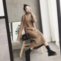 Dress Winter of 2019 S M L XL Mid length dress singleton  Long sleeves commute High collar Loose waist stripe Socket other routine Others 18-24 years old Type H Qiaonifen Korean version 9988# More than 95% knitting polyester fiber Polyester 100% Pure e-commerce (online only)