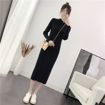 Dress Autumn 2020 Black grey S M L Mid length dress singleton  Long sleeves commute Half high collar middle-waisted Solid color Socket A-line skirt routine Others 18-24 years old Type H Qiaonifen Korean version 51% (inclusive) - 70% (inclusive) knitting polyester fiber Polyester 60% other 40%