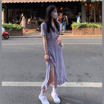 Dress Summer 2021 S M L XL Mid length dress singleton  Short sleeve commute V-neck High waist Broken flowers Socket A-line skirt routine Others 18-24 years old Type A Qiaonifen Korean version 51% (inclusive) - 70% (inclusive) other polyester fiber Polyester 60% other 40% Pure e-commerce (online only)