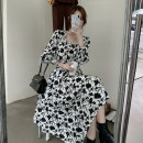Dress Spring 2021 Black and white dress S M L XL longuette singleton  Long sleeves commute square neck High waist Decor Socket A-line skirt routine Others 18-24 years old Type A Qiaonifen Korean version 51% (inclusive) - 70% (inclusive) Chiffon polyester fiber Polyester 60% other 40%