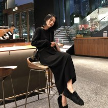 Dress Autumn 2020 Black and white S M L XL Mid length dress singleton  Long sleeves commute Crew neck High waist Solid color Socket One pace skirt routine Others 18-24 years old Type A Qiaonifen 51% (inclusive) - 70% (inclusive) knitting polyester fiber Polyester 70% other 30%