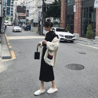 Dress Autumn of 2019 Apricot black S M XL L Mid length dress singleton  Long sleeves commute Half high collar High waist Solid color Socket A-line skirt routine Others 18-24 years old Type A Qiaonifen Korean version More than 95% knitting polyester fiber Polyester 100% Pure e-commerce (online only)