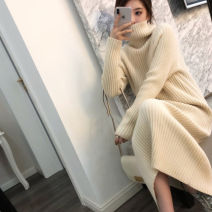 Dress Autumn of 2019 S M L XL Mid length dress singleton  Long sleeves commute High collar High waist Solid color Socket other routine Others 25-29 years old Type A Qiaonifen Korean version More than 95% knitting polyester fiber Polyester 100% Pure e-commerce (online only)